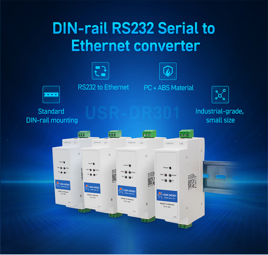 USR-DR301 DIN-rail RS232 Serial To Ethernet Converter Tiny Size RS232 Ethernet Serial Device Server Supports Websocket