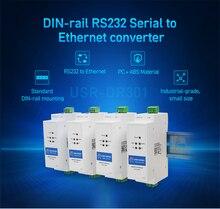 USR DR301 din rail rs232 serial para ethernet conversor tamanho minúsculo rs232 ethernet dispositivo de serial suporte do servidor websoket