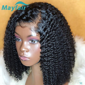 Kinky Curly Bob Lace Front Wigs For Black Women Short Bob Wig 13X4 Lace Front Human Hair Wigs Pre Plucked Peruvian Remy Hair Wig straight human hair wigs pre plucked peruvian 13x4 lace front wig 150 dens middle part remy lace front human hair wigs for women