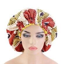 Очень большой размер Африканский узор Анкара Чепцы женщин атласной подкладке Гидроманта шляпки ночного сна крышка головной убор ТБ-77E