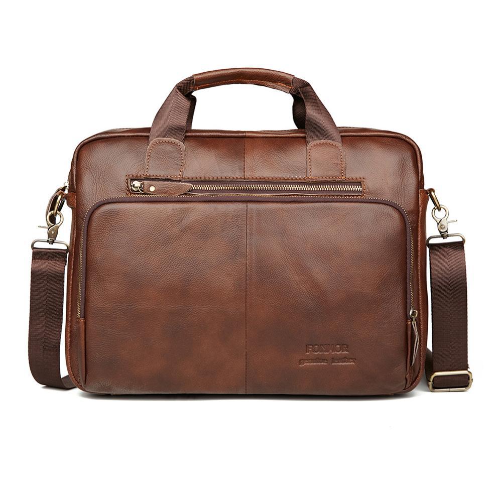 Fashion Business Genuine Leather Briefcase Bag For Men Casual Shoulder Messenger Bags Male Office Travel Vintage Handbag