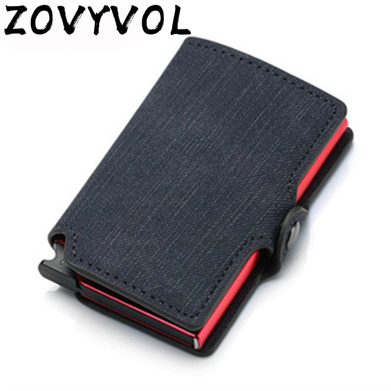 ZOVYVOL RFID Aluminium Alloy Credit Card Wallet Holder PU Leather Card Wallet Card Holder for Women Automatic Pop Up Card Case