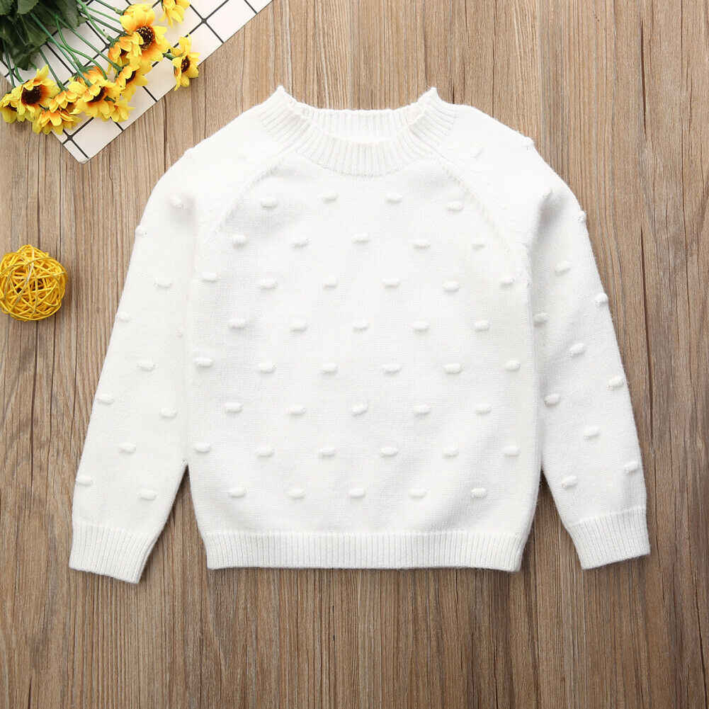 1-5T Kids Toddler Baby Girl Crewneck Long Sleeve Knit Sweater Solid Pullover Top Warm Fall Winter Outfits