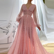 Elegant Prom Dresses 2020 Pink Tulle V-Neck A-Line Long Evening Dresses Pearl vestidos do baile de finalistas Formal Party Gown(China)