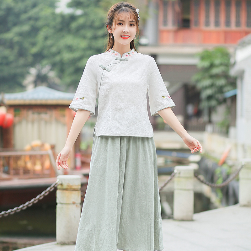 2019 Summer New Style Ethnic-Style Cotton Linen WOMEN'S Dress Literature And Art Retro Stand Collar Embroider Jacket + Skirt Set