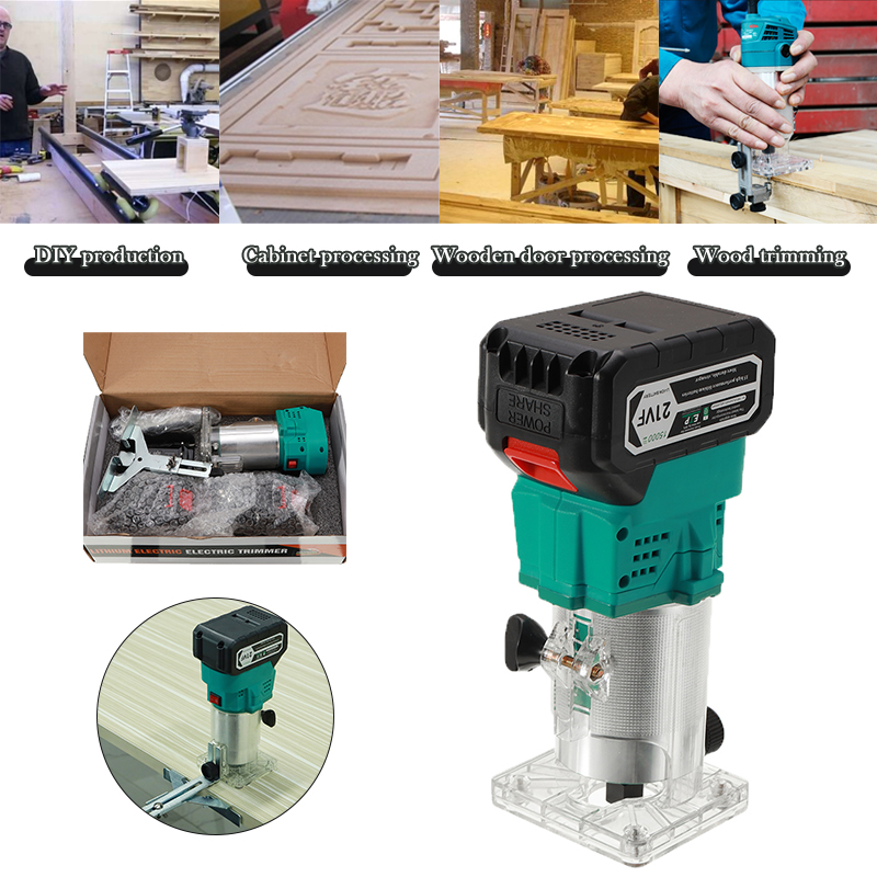 Wireless Electric Hand Trimmer 21V 850W Brushless Router Wood Carving Machine Milling Machine Wood Grinding Slotting Woodworking