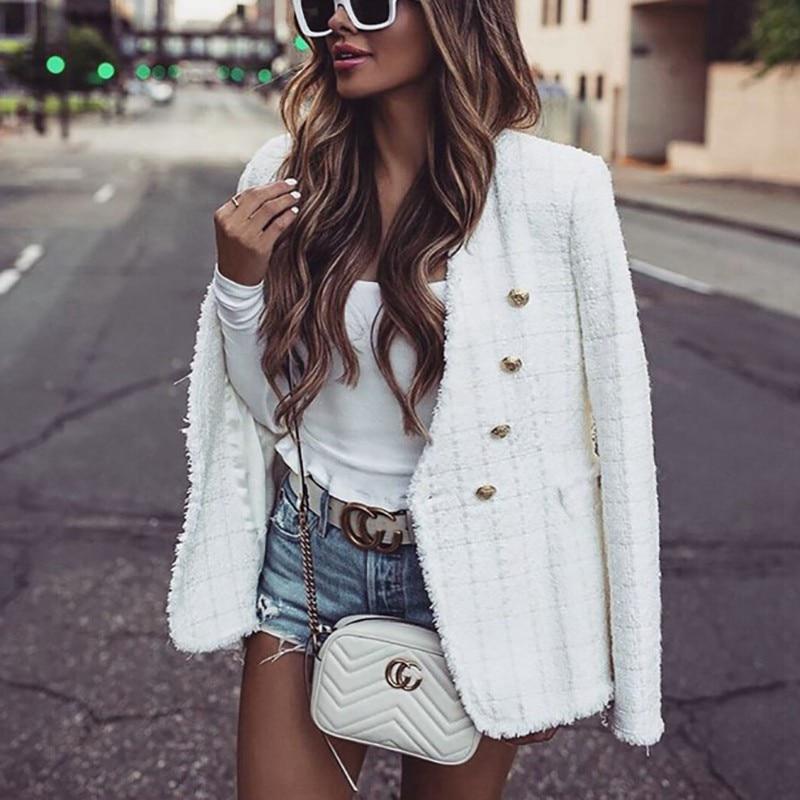 Tweed Coat White Women Blazers Chaqueta Mujer Elegant Veste Femme Sexy Ropa Mujer Basic Jackets Coat Spring Vestio 2020 Zora Za