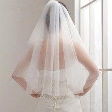 Простая и элегантная свадебная вуаль, свадебная Тюлевая Фата с гребнем, двухслойная короткая белая свадебная вуаль, дешевые, свадебная вуаль цвета слоновой кости