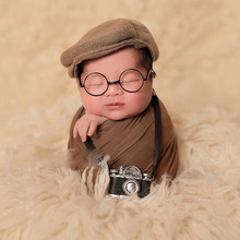 Newborn photography Baby DIY Props Creation Gentlemen Camera bebe Costume Boy Infant Mini Glasses for Dolls Studio accessories(China)