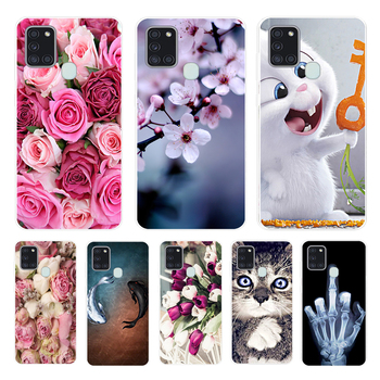 For Samsung Galaxy A21S Case A 21S Bumper Silicone TPU Soft Phone Cover For Samsung A21S A217F A21 A 21 S 6.5 Cases Cute Flower image