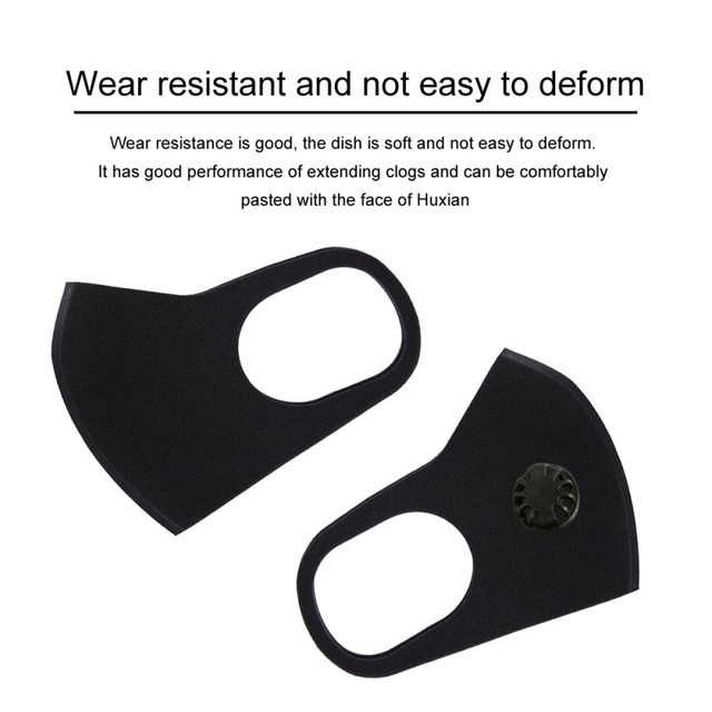 PM2.5 Black Mouth Mask Anti Dust Mask Activated Carbon Filter Windproof Mouth-muffle Proof Flu Face Masks Care Unisex 3