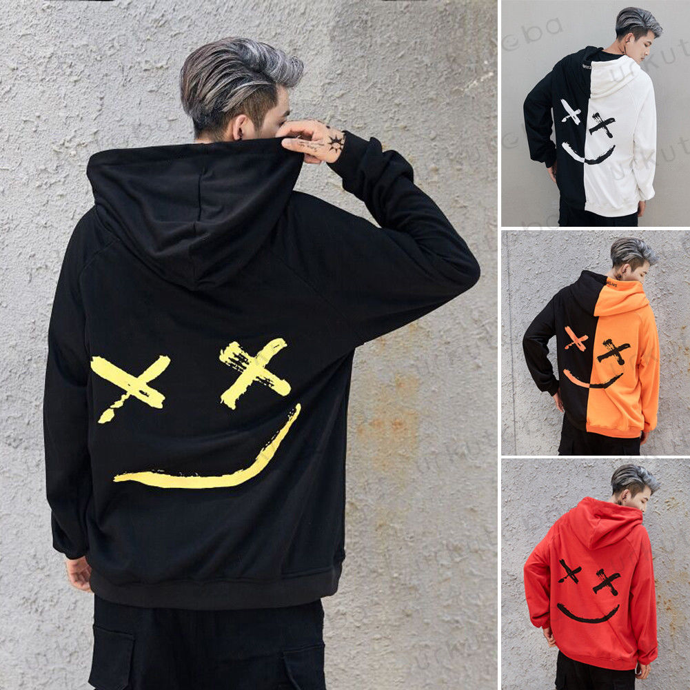 2020 New Men Hoodies Sweatshirts Smile Print Headwear Hoodie Hip Hop Streetwear Clothing Us Size Plus Size 3XL