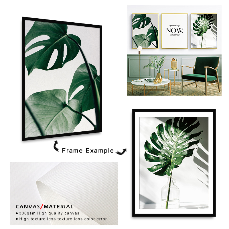 H6a31ff6ccd2745dcbc417e4c131e4acfD ART ZONE Nordic Canvas Painting Modern Prints Plant Leaf Art Posters Prints Green Art Wall Pictures Living Room Unframed Poster