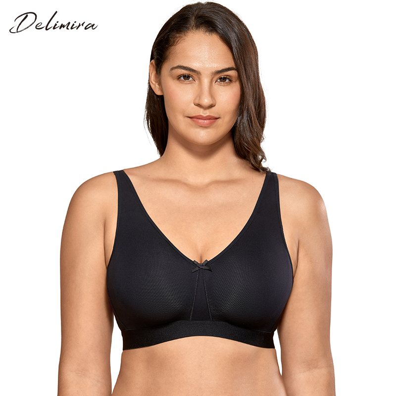 DELIMIRA Women's Plus Size Cotton Bra Seamless No Padding Full Coverage Wirefree Bras For Women