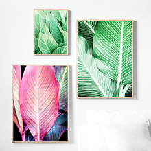 купить Natural Plant Canna Leaf Wall Art Print Canvas Painting Nordic Canvas Poster And Prints Wall Pictures For Living Room Decor дешево