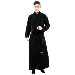 Image 1 - Umorden大人黒貴族プリースト衣装男性宗教牧師父衣装ハロウィンpurimパーティーマルディグラマスカレードファンシードレス