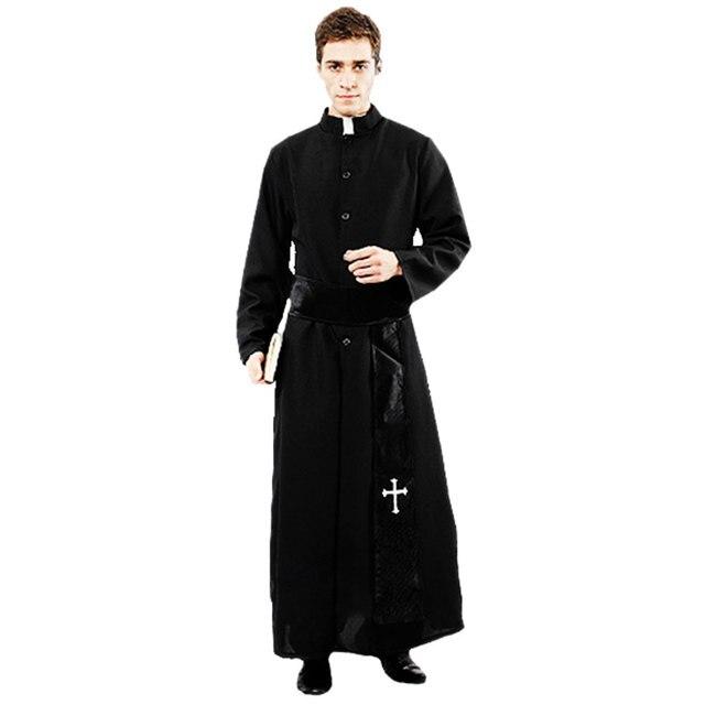 Umorden大人黒貴族プリースト衣装男性宗教牧師父衣装ハロウィンpurimパーティーマルディグラマスカレードファンシードレス
