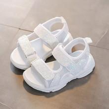 Children Sandals Girl Princess Sandals Sequined White Sandals Summer Mesh Breathable Luminous Kids Girls Sports Sandals Shoes
