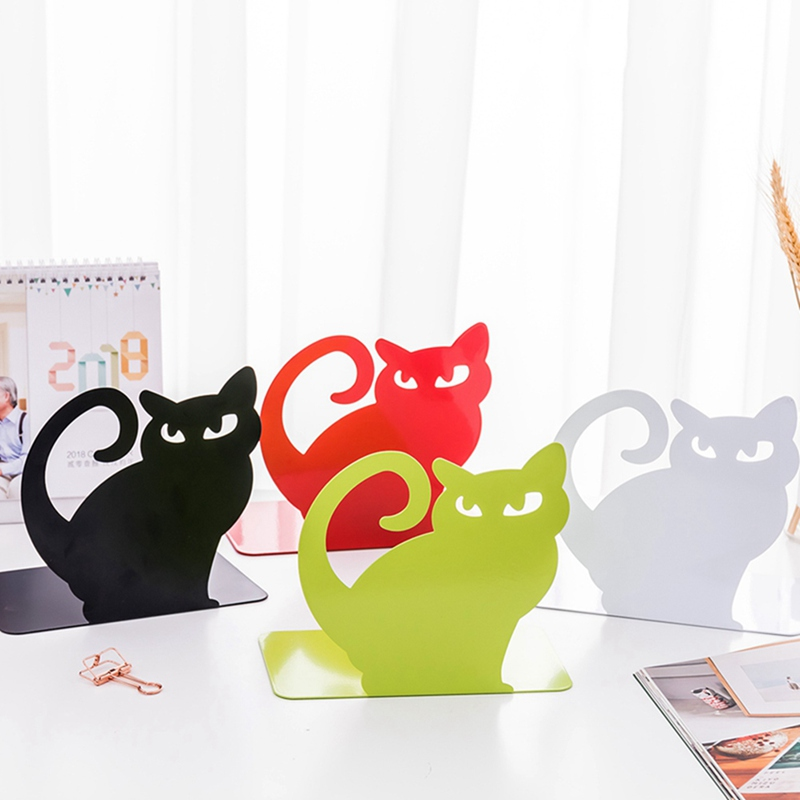 2pcs/set <font><b>Metal</b></font> Anti-Skid Retractable Animal Bookend New Cute Cartoon Cat Art <font><b>Book</b></font> Ends <font><b>Stand</b></font> Holder Desk Decoration image