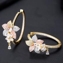 GODKI Luxury 3 Tone Flower Tassel Drop Cubic Zircon Statement Big Hoop Earrings For Women Wedding DUBAI Bridal Hoop Earring 2019