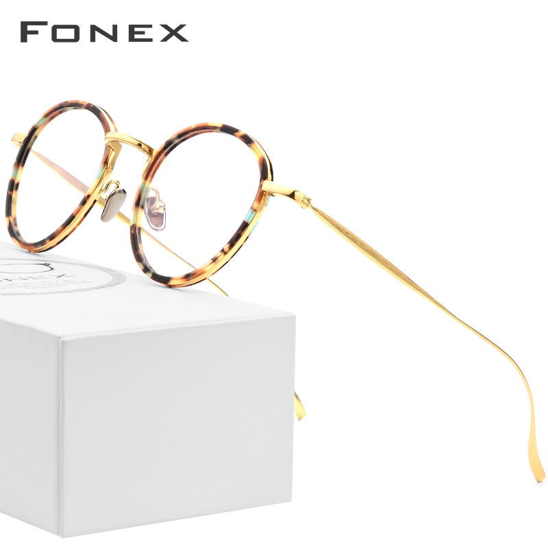 Pure Titanium Glasses Frame Men 2018 Light Vintage Round Ultralight Prescription Eyeglasses Women Myopia Optical Frames