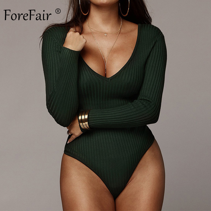 Forefair Long Sleeve Ribbed Knit Sexy Bodysuit Women Autumn Fashion V Neck Solid Skinny Green Black White Winter Body Tops 2