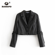 ROHOPO Lace Up Sleeve Vertical Striped Black Crop Blazer Notched Collar Autumn Ladies Short Streetwear Short Outwear #	9125
