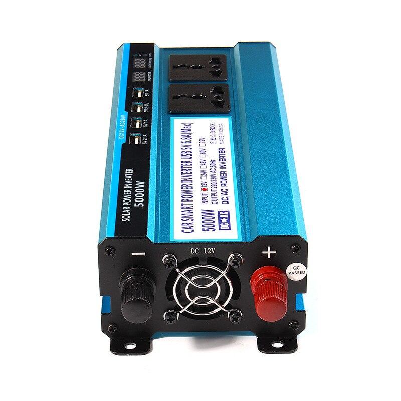 Falownik solarny 12/24/48V 220V falownik 5000 konwerter napięcia transformator 4 USB falownik solarny ładowarka do samochodu W domu