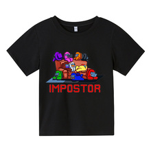 Among Us Cartoon T Shirt For Kid Summer Boy Clothes 4-14T Fashion Top Tees Children Unisex girl Clothing Short sleeve 100%cotton