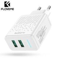 FLOVEME cargador rápido USB para teléfono cargador de teléfono de doble puerto 5V a enchufe de la UE cargador de pared de viaje para iPhone samsung Cargador rápido