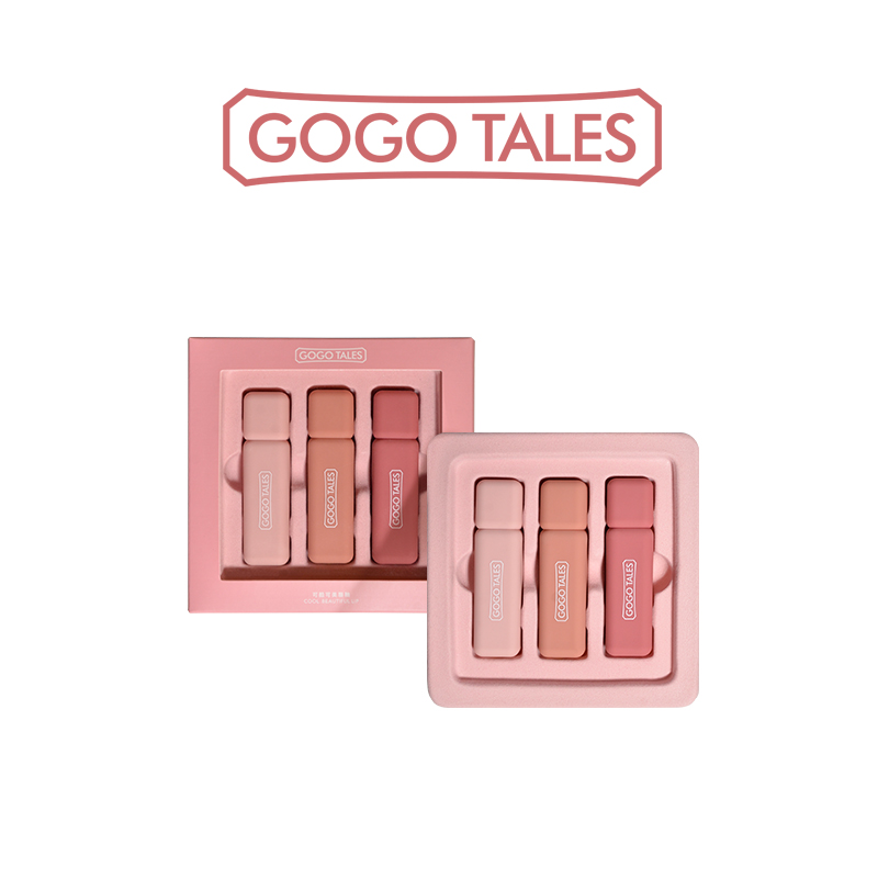 GoGo Tales 3pcs/Set Waterproof Lip Gloss MatteMoist Liquid Lipstick Red Long Lasting Lip Stain Batom Tint Nude Lipgloss Makeup