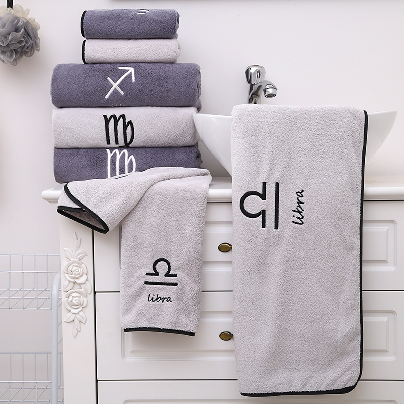 12 Constellations Towel Bath Towels Superfine Fiber Embroidered Towel Women Bathroom Super Absorbent Washcloths Towel Wrap Dress