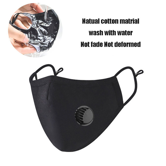Reusable Washable Face Masks Washable Pm2.5 Filter Mouth Mask Anti Dust Windproof Cotton Valve Respirator Flu Protect Unisex 4