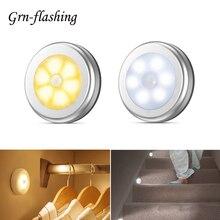 6 led pirモーションセンサー夜の光キャビネットの下で壁ランプaaaバッテリ駆動キッチン寝室階段クローゼットワードローブライト