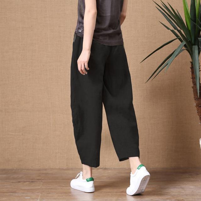 ShiMai Women's Cotton Linen Pants Elastic Waist Vintage Trousers Lady Loose Casual Pants S-2XL Retro Literary Cotton Trousers 4