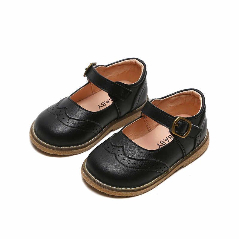 Girls Solid Color PU Leather Shoes Kids