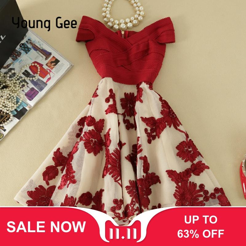 Young Gee Off Shoulder Bodycon Sexy Evening Party Bandage Elastic Dress Embroidery Floral Knee-length Elegant Summer Dresses