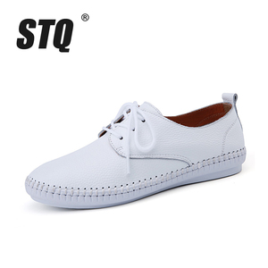 Image 2 - STQ 2020 Spring Women Ballet Flats Oxford Flat Shoes Soft Leather Shoes Ladies Lace Up White Black Loafers Flats Boat Shoes B16