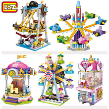 2019 NEW LOZ Ferris Carousel Pirate Ship Wheel Clip Machine Dolls Mini Diamond Building Blocks Toy Plane bricks No Box