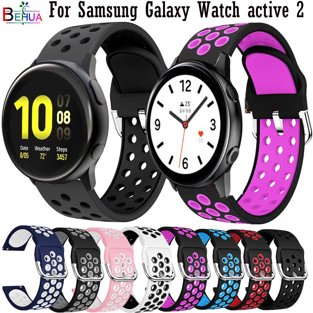 BEHAU 20mm Sport Olorful Silicone WatchBand For Samsung Galaxy Watch Active 1 Active 2 40mm 44mm Smart Watch Replacement Strap