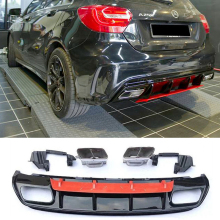 For Mercedes Benz W176 Hatchback 4 Door 13-18 A45 AMG A180 A200 Rear Diffuser Lip Spoiler With Exhaust