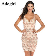 все цены на Adogirl Women Sequined Bodycon Dress Beading Tassel Plaid Gold Spaghetti Strao Fashion Sexy V-Neck Party Event Dance Dresses онлайн