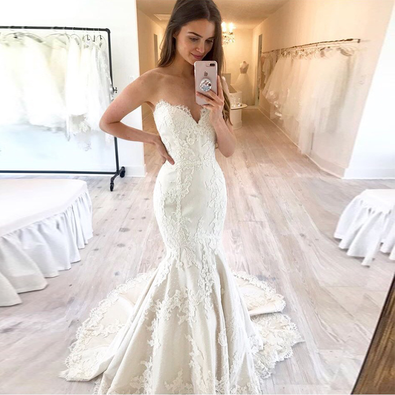 White Ivory Mermaid Wedding Dress Sweetheart Neckline Elegant Vestidos De Novia Wedding Gowns Bride Dresses Robe Mariee Dentelle