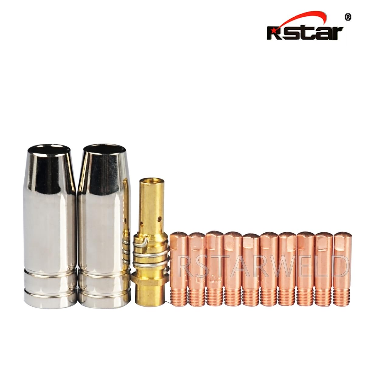 13PCS Mig Welding Nozzle Welder Torch Nozzles Consumables Gold Tip Holder Contact Tips Gas Nozzle Set 15AK MB15 Mig Torch Nozzle