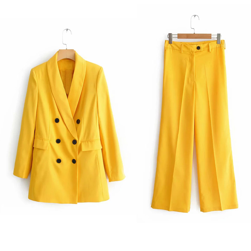 Casual Yellow Pink Blazer Feminino Work Pant Suits 2 Piece Sets Double Breasted Jacket & Buttons Trousers Suit Women Coat L0020