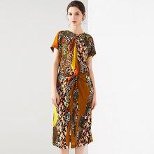 Женское шелковое платье с леопардовым принтом повседневное пляжное
