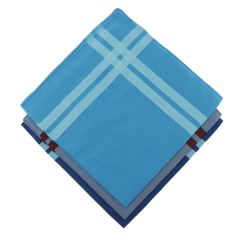 3pcs Assorted Color Plaid Cotton Handkerchief  Square Hanky For Unisex