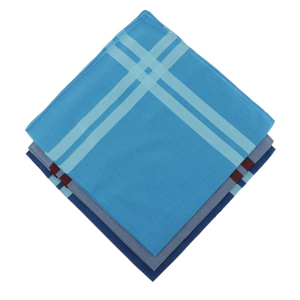3pcs Assorted Color Plaid Cotton Handkerchief  Square Hanky For Unisex