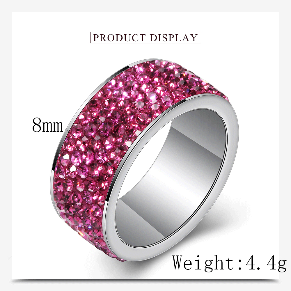 316L stainless steel Womens Wedding rings Jewelry anillos de acero inoxidable para mujer Wholesale High Quality CZ Crystal Pave 3