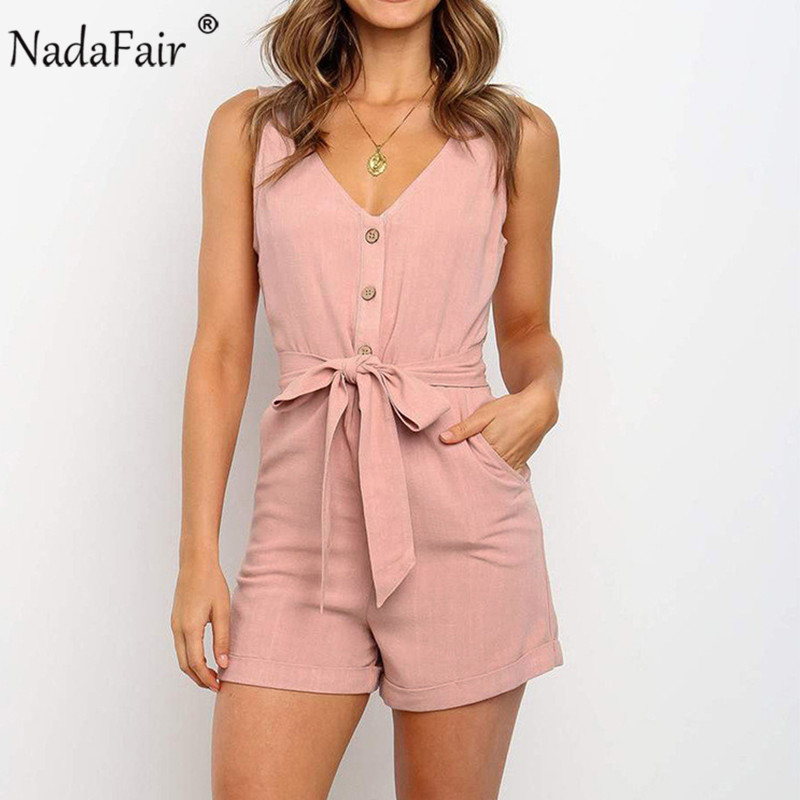 Nadafair Summer Casual Playsuit Women V Neck Belt Tunic Black Orange Pink Solid Overalls For Women Short Jumpsuit